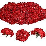Tifuly 12 Stück künstliche Hortensien Köpfe mit Stielen, Flauschige große Rispenhortensie gefälschte Blumen für DIY Blumenarrangements, Hochzeitsfeier Home Office Dekor, Herzstück(Rot)
